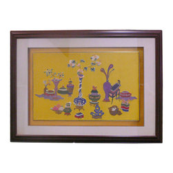 Golden Lotus - Chinese Yellow Silk Hand Embroidery Vases Flowers Framed Wall Decor - The center embroidery of oriental flower & vases is reframed with wooden base color. It adds a touch of oriental accent to the room quietly.
