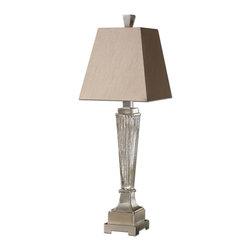Uttermost - Ribbed Mercury Glass Canino Mercury Glass Pillar Table Lamp - Ribbed Mercury Glass Canino Mercury Glass Pillar Table Lamp