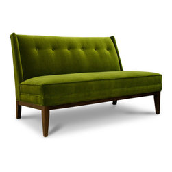 """Morrow Settee - Growing up, my family spent hours around the kitchen table enjoying convivial meals and lively conversation, long after the food prep and meal had ended. The secret? A couch alongside one side of the dining table in the eat-in kitchen. Not only does it provide supreme comfort and convenience, but more significantly, it allows one to feel as though they're in a true """"living"""" space and not a utilitarian kitchen."""
