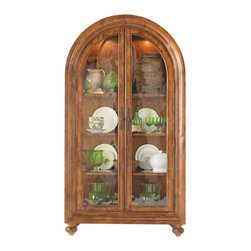 Hickory White - Hickory White Bunching China 170-41 - Glazed doors with key and back plate pulls, glazed ends, three adjustable wood frame with glass insert shelves, 2 puck touch light system, wood back panel.