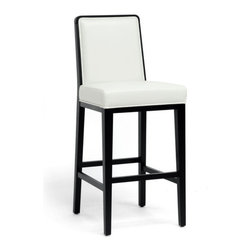 Baxton Studio - Theia Black Wood and Cream Leather Modern Bar Stool - Dine in style! Our Theia Bar Chair is a designer bar stool that will