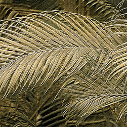 """Douglas Page Photographic Arts - Golden Palms Relief Design - Metallic Canvas Giclee, 48"""" X 24"""" - This fine art abstract photograph on metallic canvas, by photographic artist Douglas Page, creates a design simulating etched metal."""