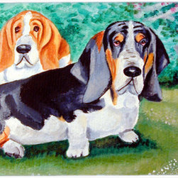 Caroline's Treasures - Basset Hound Double Trouble Kitchen or Bath Mat 24x36 - Kitchen or Bath COMFORT FLOOR MAT This mat is 24 inch by 36 inch.  Comfort Mat / Carpet / Rug that is Made and Printed in the USA. A foam cushion is attached to the bottom of the mat for comfort when standing. The mat has been permenantly dyed for moderate traffic. Durable and fade resistant. The back of the mat is rubber backed to keep the mat from slipping on a smooth floor. Use pressure and water from garden hose or power washer to clean the mat.  Vacuuming only with the hard wood floor setting, as to not pull up the knap of the felt.   Avoid soap or cleaner that produces suds when cleaning.  It will be difficult to get the suds out of the mat.