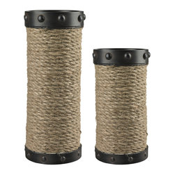Sterling Industries - Sterling Industries 129-1035 Set Of 2 Natural Rope Wrapped Candle Holders - Candle Holder (2)