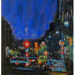 Night Moves (Original) by Cindy Morawski - I started humming Bob Seger's music when I began my Night Moves painting recently.  It's one of my all-time favorite Seger songs.   Bob's lyrics rhyme moves with  lose and blues--for me, it all sums up the energy and passion of city nightlife.  I love the reflecting colors of the traffic lights, automobile tail and headlights, advertising neon signs, and more.  Here's the last verse of my tribute to Seger.