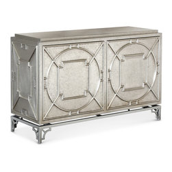 Kathy Kuo Home - Keaton Hollywood Regency Silver Storage 2 Door Cabinet - Stunning and stylish, this storage cabinet brings the sparkle of Old Hollywood to your dining or living room. Crafted from hard wood and covered with sheets of metal alloy, this rectangular chest has two doors, featuring the touch latch feature, and four removable shelves for customizable storage.