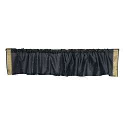 Indian Selections - Pair of Black Rod Pocket Top It Off Handmade Sari Valance, 43 X 15 In. - Size of each Valance: 43 Inches wide X 15 Inches drop