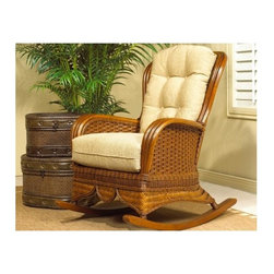 Boca Rattan - Moroccan Rattan Rocker w Wooden Legs in Urban - Fabric: 641Cushions included. Indoor use only. Leather binding. Constructed from strong and durable rattan. Weight Capacity: 250 lbs. 32.75 in. L x 31.5 in. W x 42 in. H (30 lbs.)