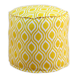 """Chooty - Chooty Nichole Corn Collection 20"""" Round x 17"""" High Corded Beads Hassock - Insert EPS Styrofoam Beads, Fabric Content 100 Cotton, Color Yellow, White, Ottoman 1"""