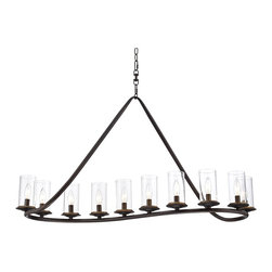"""Franklin Iron Works - Contemporary Heritage 44"""" Wide Bronze and Glass Chandelier - The sweeping energetic look of this 10-light Heritage Bronze island chandelier will add a new dimension to your home decor. Perfect in a kitchen or above a dining table as a warm comforting part of your stylish decor. Clear glass cylinders encase the bulbs and add a light touch to this sophisticated design. Heritage Bronze island chandelier. Metal construction. Clear glass cylinders. Ten maximum 60 watt bulbs (not included). 44"""" wide. 23 1/4"""" high. 16 3/4"""" deep. Includes 6' chain and 12' wire. Ceiling canopy is 6"""" wide.  Heritage Bronze island chandelier.  Metal construction.  Clear glass cylinders.  Designer style large chandelier.  Ten maximum 60 watt bulbs (not included).  44"""" wide.  23 1/4"""" high.  16 3/4"""" deep.  Includes 6' chain and 12' wire."""