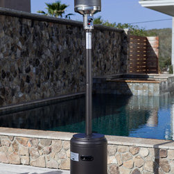 """Fire Sense Promotional 46, Btu Patio Heater AP108379 - Features:* 46,000 BTU's* Heat Range: up to 18 ft. diameter* Reliable Piezo igniter* Stainless steel burners & heating grid* Uses standard 20 lb. LPG BBQ tank - NOT INCLUDED* Safety auto shut off tilt valve* Wheel assembly included* Ships in one carton* Consumption Rate (Approx) 10 hrs - 20 lb LPG tankAssembled Dimensions: 18.1"""""""" Base, 31.9"""""""" 5 Pc. Hood and 87"""""""" Height, Weight: 37.5 lbsCarton Dimensions: 18"""""""" L x 21"""""""" W x 31"""""""" H, Weight: 40 lbs"""