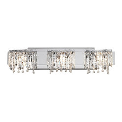 "Possini Euro Design - Possini Euro Crystal Strand 25 3/4"" Wide Bath Light - Strands of clear glass crystal dangle in front of the three lights of this fantastic bathroom fixture. The rectangular backplate and accents are finished in sleek chrome which reflects the sparkles from the crystal. Give a new dimension to your bathroom wall with this beautiful bath fixture from Possini Euro. Chrome finished metal. Clear glass crystal. Includes three 40 watt G9 halogen bulbs. 25 3/4"" wide. 6 3/4"" high. Extends 4"" from the wall. Backplate is 15 3/4"" wide and 5"" high.  Chrome finished metal.     Clear glass crystal.   Includes three 40 watt G9 halogen bulbs.   25 3/4"" wide.   6 3/4"" high.   Extends 4"" from the wall.   Back plate 15 3/4"" wide and 5"" high."