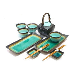 MySushiSet.com - Ocean Breeze Sushi and Tea Set - The tranquil waters of this delightful Ocean Breeze Sushi and Tea Set will be perfect holiday gift ideas or anniversary gift ideas for special people in your life. With the soothing allure of the color scheme to tempt you, your gift idea for him or her will be an impressive way to inspire a romance!