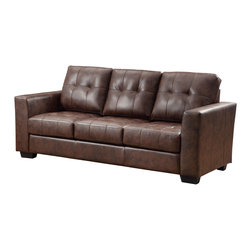 Coaster - Enright Sofa, Brown - Stylish and functional. Our Enright collection is available in black, brown and white Bonded Leather Match G��_��_ neutral colors making it easy to match any decor with. You and your guests can enjoy plush and comfortable seating on top of fiber filled back cushions. Tufted seats and back, straight arms and a simple design will give your living room a contemporary look.