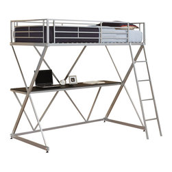 Ameriwood - DHP X-Shaped Twin Metal Loft Bunk Bed in Silver - Ameriwood - Bunk Beds - 5440196 - The awesome stylish design of DHP's X Loft Bed will appeal to you and the high-quality of the product will impress you. Space-saving and convenient this bunk bed provides a comfortable sleeping alternative with a large and useful work station together in one. The silver metal finish is secure and solid and will make an impactful design statement for your room. Accommodating any twin-size mattress the loft bed has an easy-to-climb front ladder and full-length guardrails for security. Once assembled you will be in awe of how great DHP's X-Loft Bed in silver looks.