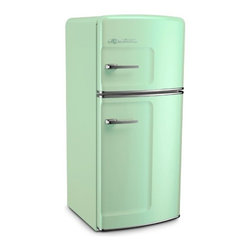 Studio Size Retro Refrigerator, Green - I keep eyeing my 10-year-old refrigerator and thinking about an upgrade. This retro-inspired appliance is very hard to resist, especially when it comes in such a luscious minty color.