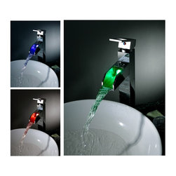 NEW Contemporary wall mount rainfall LED Shower Faucet chrome finish LS05H -