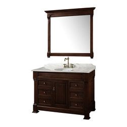 "Wyndham Collection - Wyndham Collection 48"" Andover Single Sink Bathroom Vanity Set in Dark Cherry - A new edition to the Wyndham Collection, the beautiful Andover bathroom vanity series represents an updated take on traditional styling. The Andover is a keystone piece, with strong, classic lines and an attention to detail. The vanity and solid marble countertop are hand carved and stained. Available in Black and Dark Cherry finishes to match any decor. Available in a range of single or double vanity sizes to fit any bathroom."