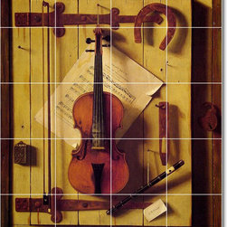 Picture-Tiles, LLC - Still Life Violin And Music Tile Mural By William Harnett - * MURAL SIZE: 60x48 inch tile mural using (20) 12x12 ceramic tiles-satin finish.