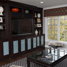 Transitional Family Room by Stacey Cohen Interior Design