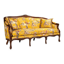 French Heritage - French Heritage Camille Sofa - The wonderful Camille sofa creates a playful twist on classic French design.  Our elegant, hand-carved frame is made of mahogany and the luxury down wrapped cushion insures complete comfort.  Sofa ships As-Shown.