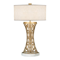 Fine Art Lamps - Allegretto Gold Table Lamp, 784910-2ST - Let this lamp — with its irresistible lines — shine light and style on your contemporary setting. Note how the oblong textured linen shade perfectly balances the height of the base.