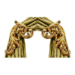 The Merchant Source - Enlarged Holdback in Gilded Gold - Acanthus - Set of 2 - Set of 2. Gilded Gold finish. Made of Resin. 3.5 in. return. 9 in. L x 11 in. W (3 lbs.)