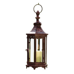 Pier Surplus - Large Bronze Metal Moroccan Hanging Candle Lantern, Clear Glass #CL221856 - Add an exotic touch of mystery and worldliness to any evening's entertainment! This hanging metal candle lantern has been finished in bronze and has been designed for indoor or outdoor use. Inspired by Moroccan art, it adds a romantic, worldly touch to any special occasion. Use it as a centerpiece at your wedding, or hang it outside for a warm summertime glow. Its decorative design encases candles to burn safely.