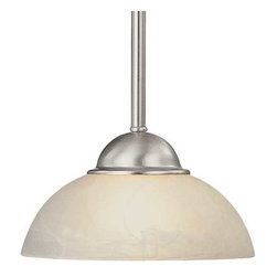 Dolan Designs Lighting - Mini-Pendant with Alabaster Glass - 200-09 - Includes one 6-inch and three 12-inch stem segments with an integrated sloped ceiling adapter. Takes (1) 60-watt incandescent G16.5 bulb(s). Bulb(s) sold separately. UL listed. Dry location rated.