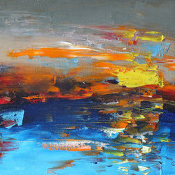 """""""Twilight"""" (Original) By Marino Chanlatte - This Work Was Inspired On A Sunset In The Seaside, Is A Free Abstract Interpretation To Catch The Moment."""