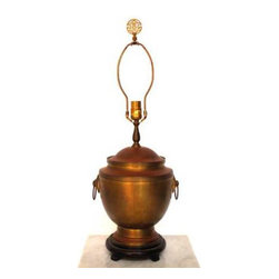 Antique Asian Brass Urn Table Lamp - Antique brass lamp urn shaped with lip and handles. Asian style vessel with wood base and feet. Beautiful vintage brass patina finish. Asian motif finial adds to the uniqueness of this lamp.