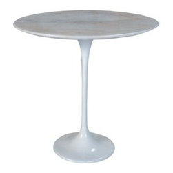 Nuevo - Jacob Round Pedestal Side Table with Cast Alu - Cast aluminum base with paint-grade finish. 0.75 in. MDF top with veneer finish. Assembly required. 20.5 in. Dia. x 20.25 in. H (29.5 lbs.)