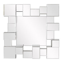 Babylon Contemporary Cube Mirror - This mirror features an arrangement of mirrored cubes that create an interesting 3D effect. Its alternating placement of these cubes create depth and fascinating reflections!