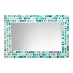 "Mosaic Wall Mirror - Teal, Green & Blue (Handmade), 30"" X 24"", Horizontal - MIRROR DESCRIPTION"