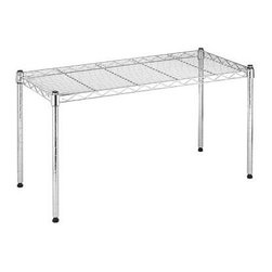 Whitmor - Wide Chrome Stacking Shelf - Use this shelf on its own or in combination with other Whitmor units to stack and build your own customized storage for office laundry kitchen garage and more. It's made of sturdy durable chromed steel and supports up to 200 lb.
