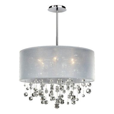 Silhouette Pendant by Glow Lighting - Silhouette 6-light chandelier features clear Signature Series crystals, white sheer drum shape shade and silver pearl metal finish. Also available with color crystals as well as Danube or Swarovski crystals. Shade also available in black or silver. Six 60 watt 120 volt candelabra base bulbs sold separately. Includes four 8.5 inch hanging rods. 24 inch W x 20.5 inch H.