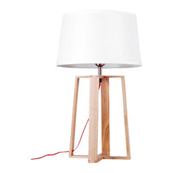 ParrotUncle - Wooden Quadripod Stand Table Lamp With Fabric Shade - Large - The tried-and-true quadripod stands center stage in the design of this table Lamp. This classic base is made with wood and supports a white fabric shade. Powering your lamp is a black/red power cord with On/Off switch, standard American 2-prong polarized plug. You will need a 40W max bulb, which is not included with purchase.