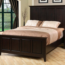 None - Waynesborough Queen-size Bed - Give your bedroom an instant makeover with this espresso queen-size bed. With its clean lines and subdued pattern,this Waynesborough bed is perfect for any couple. The high headboard,tapered legs,and molded edges give this bed a contemporary look.
