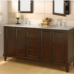 Direct Vanity Sink Classic Collection 70-in. Double Bathroom Vanity - Espresso - The distinguished look of the hadmade Direct Vanity Sink Classic Collection 70-in. Double Bathroom Vanity Espresso brings a mission style to your bathroom decor. This beautiful vanity offers a solid wood frame legs planks and door/drawer frames as well as a marble top double sink design and a deep espresso finish. Its spacious cabinetry features soft closing glides and hinges and wooden drawer pulls. About J&J International DBA Direct Vanity SinkSince 2005 J&J / Direct Vanity Sink has been manufacturing high quality bathroom furniture that is designed to be both beautiful and affordable. Exclusive lines are designed manufactured and distributed to offer an alternative to higher priced name brand competition. Innovation and smart designs allow the company to provide quality style and affordability into each package.