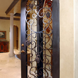 Iron Doors - Wine Gate with wrought iron grape accents (Design W-337-01)