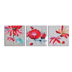 """My Art Outlet - Floral Relations Triptych Hand Painted Canvas Wall Art - Size: 96"""" x 32"""" (32"""" x 32"""" x 3pc). Enjoy a 100% Hand Painted Wall Art made with oil and acrylic paints on canvas stretched over a 1"""" thick inner wooden frame. The painting is gallery wrapped and ready to hang out of the box. A very stylish addition to any room that is sure to get the attention of guests."""