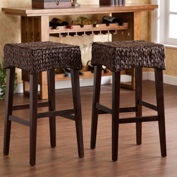 Upton Home - Dunmoor 26-inch Counter Height Stool (Set of 2) - This pair of 26 inch counter height stools features beautiful woven water hyacinth seats and solid pine legs. Use these stools in the kitchen, breakfast nook, bar, or dining area for beautiful bar height seating.