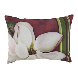 "Manual - ""Steel Magnolia"" Indoor / Outdoor Throw Pillow 18 Inches x 12 Inches - This beautiful ""Steel Magnolia"" pattern 18 inch by 12 inch accent pillow adds a great look to your patio furniture. Both the front and back sides feature a magnolia flower against a burgundy background, with a red, green, brown and yellow striped accent. The Climaweave fabric is durable, fade and moisture resistant, and is sure to look and feel great for years, whether you use it indoors or outdoors. Each of these pillows is crafted with pride in the Blue Ridge Mountains of North Carolina, and is a quality accent to your home."