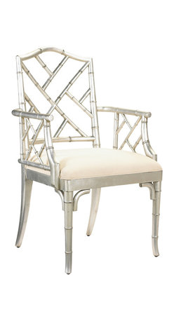 Kathy Kuo Home - Chinese Chippendale Hollywood Regency Silver Bamboo Dining Arm Chair - Elegant mahogany is hand carved to resemble bamboo in this exquisite, high-backed armchair. Ivory beige linen upholstery complements the silver frame for an eclectic, inviting seat that's fashionable and comfortable anywhere in your home.
