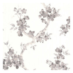 Graham & Brown - Mercutio Black/White Wallpaper - Mercutio is a delicate floral and foliage design on a heavyweight, fabric effect background. A black and white colour way with highlights of silver brings the flowers to life and creates a wallpaper that is suitable on all 4 walls or as a feature.