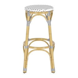 Safavieh - Kipnuk Stool Grey/White (Indoor/Outdoor) - Raise a glass to country and coastal decorating with the grey and white Kipnuk indoor-outdoor barstool from Safavieh. A colorful addition to a kitchen or patio bar, the pretty Kipnuk is inspired by classic European bistro stools and crafted of white PE wicker and aluminum faux bamboo for easy care.