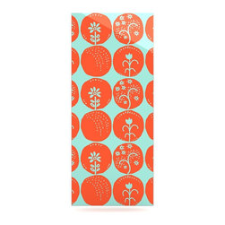 """Kess InHouse - Anneline Sophia """"Dotty Papercut Orange"""" Circles Teal Metal Luxe Panel (9"""" x 21"""") - Our luxe KESS InHouse art panels are the perfect addition to your super fab living room, dining room, bedroom or bathroom. Heck, we have customers that have them in their sunrooms. These items are the art equivalent to flat screens. They offer a bright splash of color in a sleek and elegant way. They are available in square and rectangle sizes. Comes with a shadow mount for an even sleeker finish. By infusing the dyes of the artwork directly onto specially coated metal panels, the artwork is extremely durable and will showcase the exceptional detail. Use them together to make large art installations or showcase them individually. Our KESS InHouse Art Panels will jump off your walls. We can't wait to see what our interior design savvy clients will come up with next."""