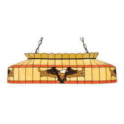 "Meyda Tiffany - Meyda Tiffany Victory Eagle 31.5""L Kitchen Island / Billiard Light X-78831 - Meyda Tiffany Victory Eagle Kitchen Island/Billiard Light is perfect to add to a rustic home interior. The warm Amber and Brown glass on a Beige shade with flame orange bands make the American Bald Eagle motif stand out. This lighting fixture is finished in a matching Mahogany Bronze and adds a wonderful warm illumination to your entertainment area."
