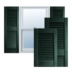 """Alpha Systems LLC - 12"""" x 39"""" Builders Choice Vinyl Open Louver Shutters,w/Screws, Pine Green - Our Builders Choice Vinyl Shutters are the perfect choice for inexpensively updating your home. With a solid wood look, wide color selection, and incomparable performance, exterior vinyl shutters are an ideal way to add beauty and charm to any home exterior. Everything is included with your vinyl shutter shipment. Color matching shutter screws and a beautiful new set of vinyl shutters."""