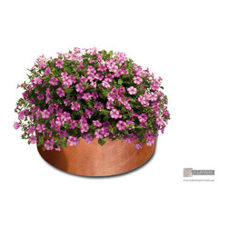"""custom made round polished copper planters - Custom copper planter, 7"""" tall, 20"""" wide."""